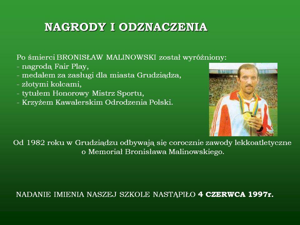Po śmierci BRONISŁAW MALINOWSKI został wyróżniony: - nagrodą Fair Play, - medalem za zasługi dla miasta Grudziądza, - złotymi kolcami, - tytułem Honor