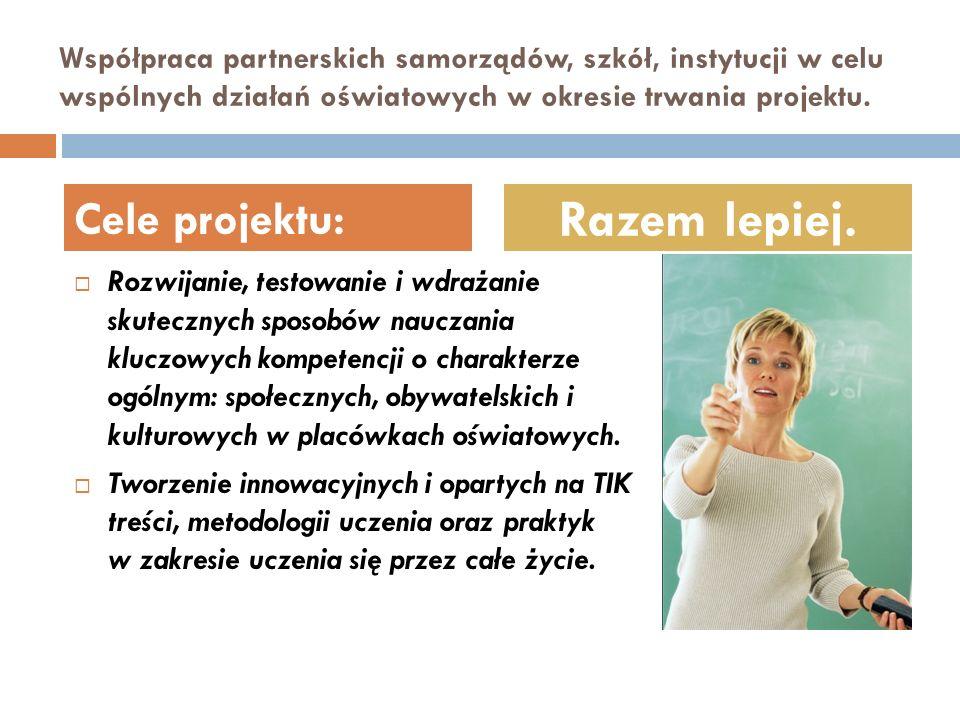 Współpraca partnerskich samorządów, szkół, instytucji w celu wspólnych działań oświatowych w okresie trwania projektu. Rozwijanie, testowanie i wdraża
