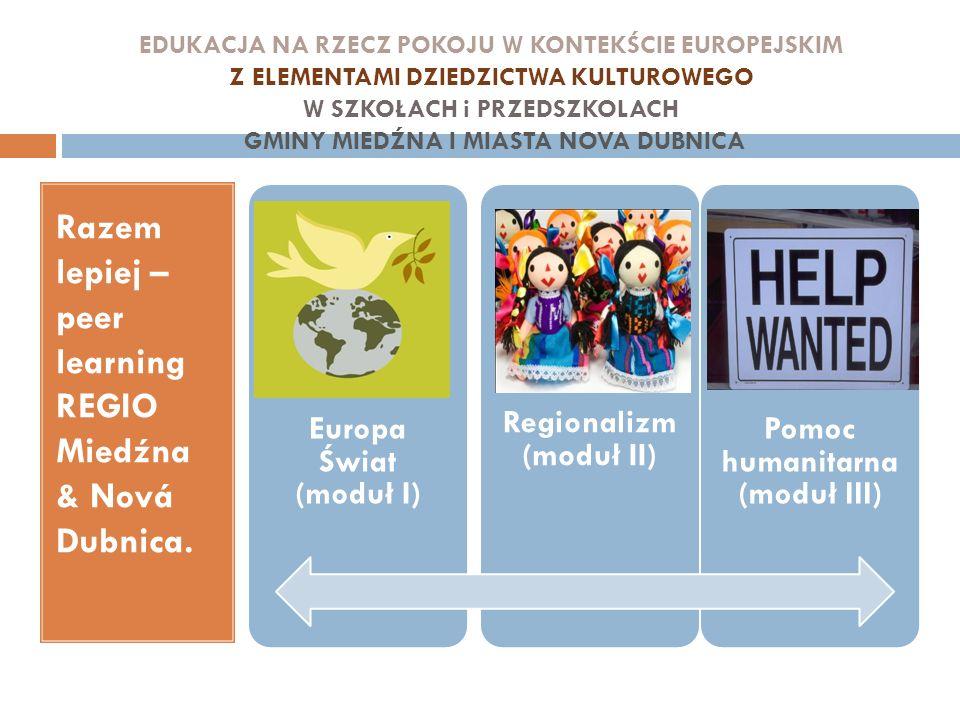 EDUKACJA NA RZECZ POKOJU W KONTEKŚCIE EUROPEJSKIM Z ELEMENTAMI DZIEDZICTWA KULTUROWEGO W SZKOŁACH i PRZEDSZKOLACH GMINY MIEDŹNA I MIASTA NOVA DUBNICA