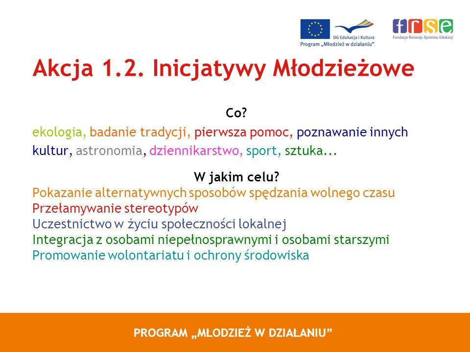 PROGRAM MŁODZIEŻ W DZIAŁANIU Akcja 1.2. Inicjatywy Młodzieżowe Co.