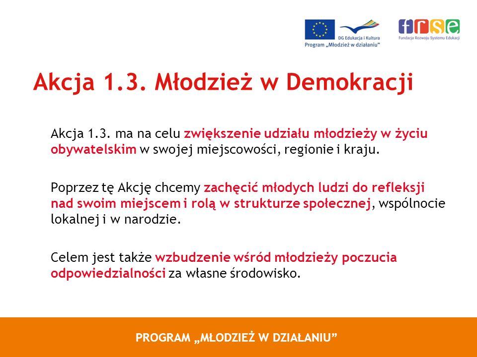 PROGRAM MŁODZIEŻ W DZIAŁANIU Akcja 1.3. Młodzież w Demokracji Akcja 1.3. ma na celu zwiększenie udziału młodzieży w życiu obywatelskim w swojej miejsc