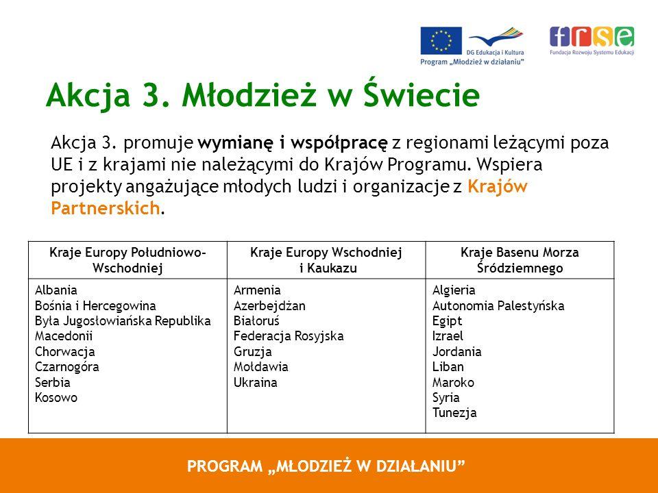 PROGRAM MŁODZIEŻ W DZIAŁANIU Akcja 3. Młodzież w Świecie Akcja 3. promuje wymianę i współpracę z regionami leżącymi poza UE i z krajami nie należącymi