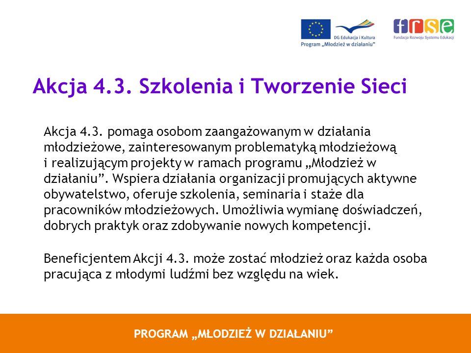 PROGRAM MŁODZIEŻ W DZIAŁANIU Akcja 4.3. Szkolenia i Tworzenie Sieci Akcja 4.3. pomaga osobom zaangażowanym w działania młodzieżowe, zainteresowanym pr