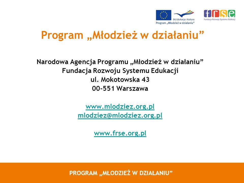 PROGRAM MŁODZIEŻ W DZIAŁANIU Program Młodzież w działaniu Narodowa Agencja Programu Młodzież w działaniu Fundacja Rozwoju Systemu Edukacji ul. Mokotow