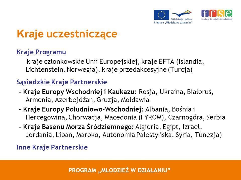PROGRAM MŁODZIEŻ W DZIAŁANIU Kraje uczestniczące Kraje Programu kraje członkowskie Unii Europejskiej, kraje EFTA (Islandia, Lichtenstein, Norwegia), kraje przedakcesyjne (Turcja) Sąsiedzkie Kraje Partnerskie - Kraje Europy Wschodniej i Kaukazu: Rosja, Ukraina, Białoruś, Armenia, Azerbejdżan, Gruzja, Mołdawia - Kraje Europy Południowo-Wschodniej: Albania, Bośnia i Hercegowina, Chorwacja, Macedonia (FYROM), Czarnogóra, Serbia - Kraje Basenu Morza Śródziemnego: Algieria, Egipt, Izrael, Jordania, Liban, Maroko, Autonomia Palestyńska, Syria, Tunezja) Inne Kraje Partnerskie
