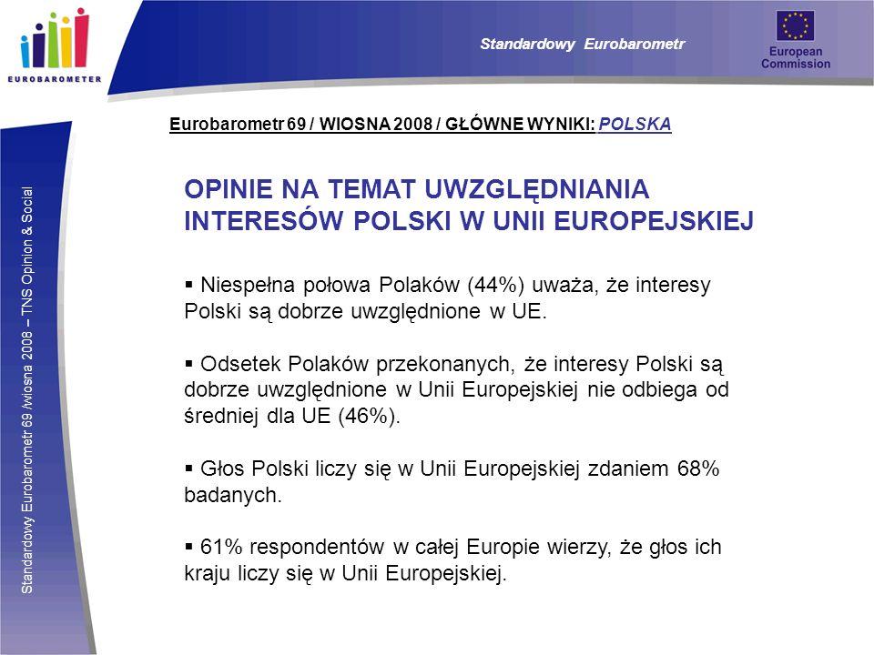 Standardowy Eurobarometr 69 /wiosna 2008 – TNS Opinion & Social Eurobarometr 69 / WIOSNA 2008 / GŁÓWNE WYNIKI: POLSKA Standardowy Eurobarometr OPINIE