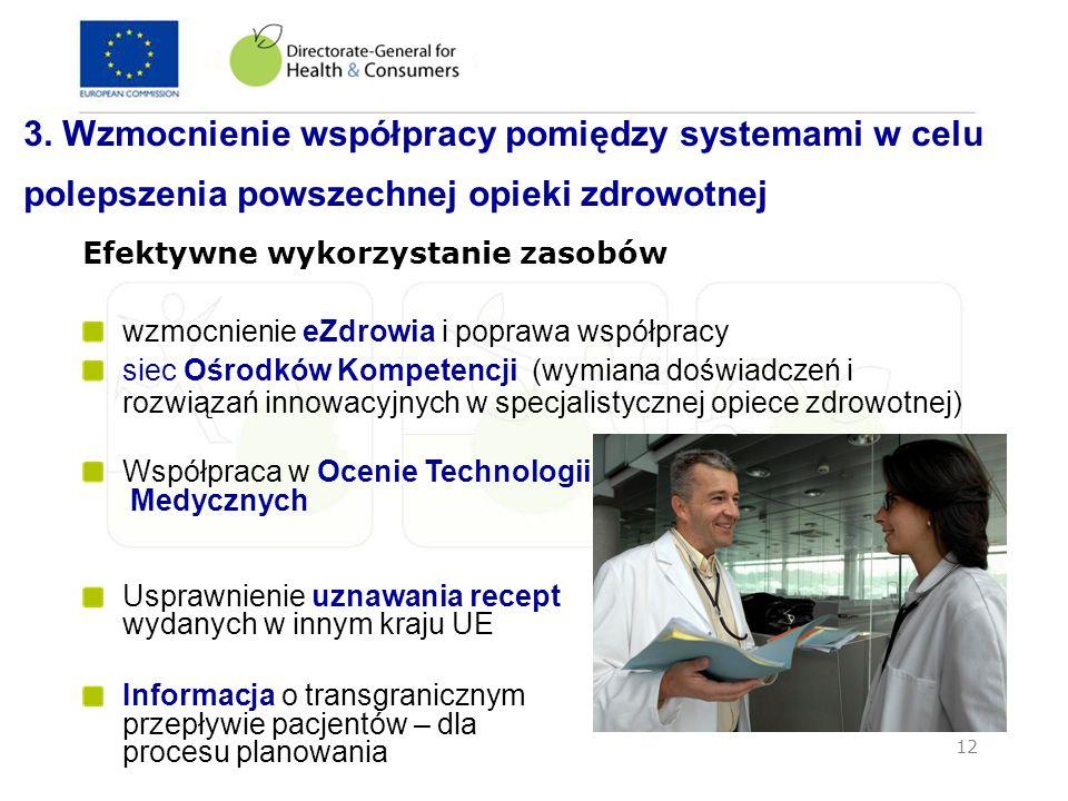 12 3. Wzmocnienie współpracy pomiędzy systemami w celu polepszenia powszechnej opieki zdrowotnej Efektywne wykorzystanie zasobów wzmocnienie eZdrowia