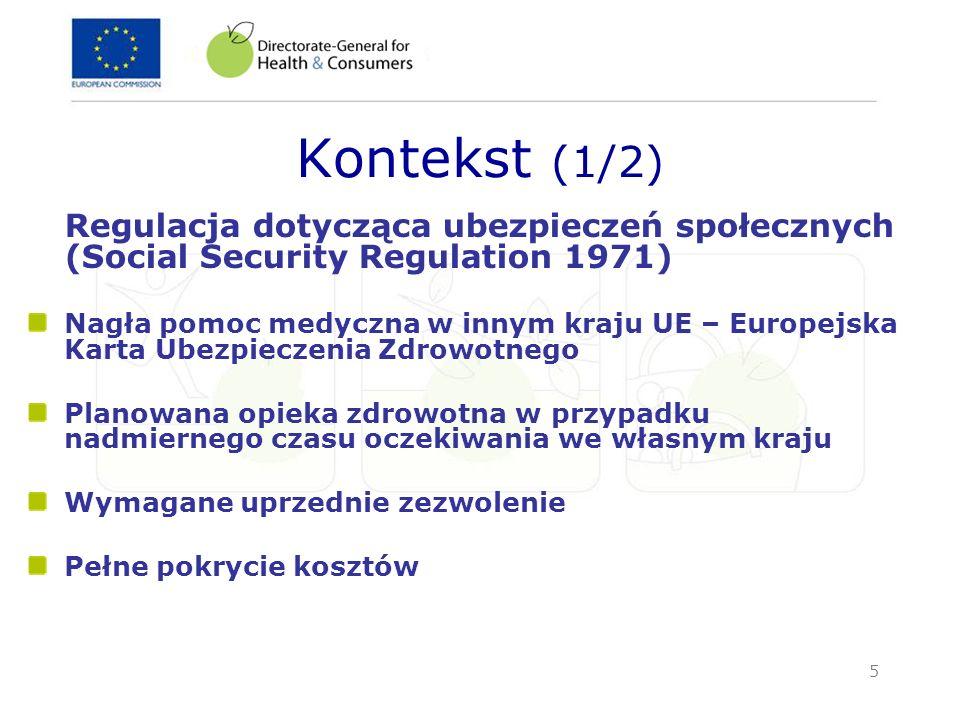 5 Kontekst (1/2) Regulacja dotycząca ubezpieczeń społecznych (Social Security Regulation 1971) Nagła pomoc medyczna w innym kraju UE – Europejska Kart