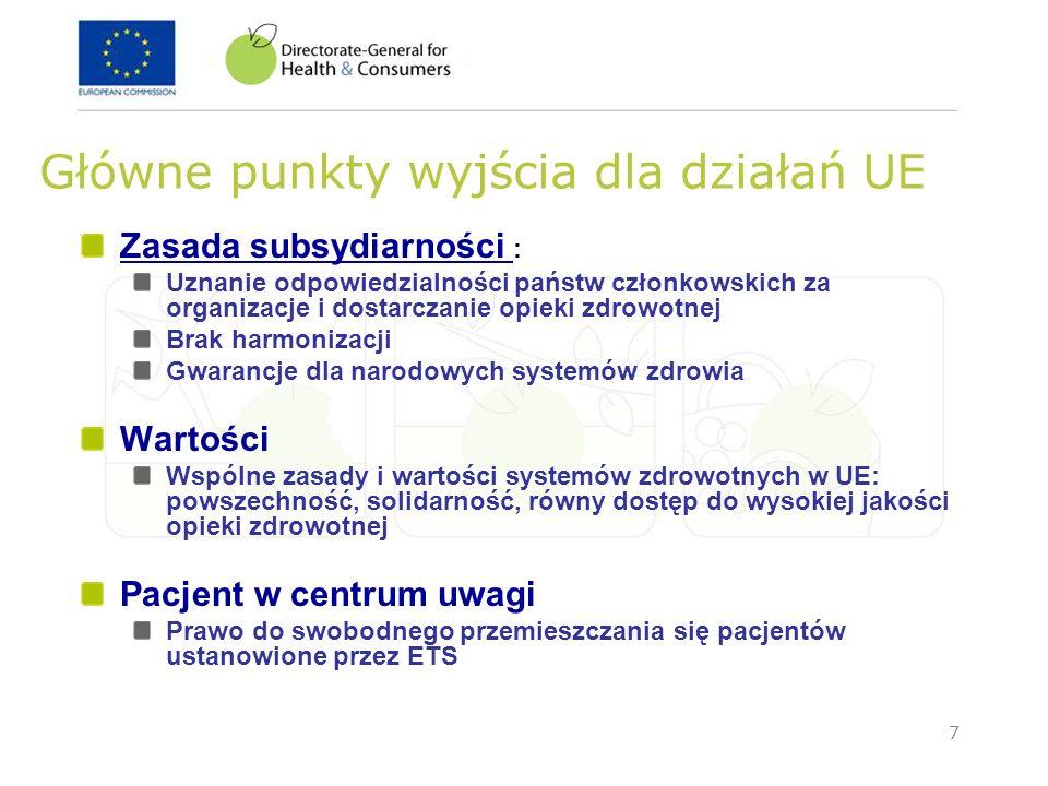 7 Główne punkty wyjścia dla działań UE Zasada subsydiarności : Uznanie odpowiedzialności państw członkowskich za organizacje i dostarczanie opieki zdr