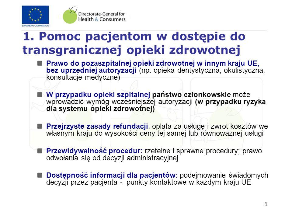 8 1. Pomoc pacjentom w dostępie do transgranicznej opieki zdrowotnej Prawo do pozaszpitalnej opieki zdrowotnej w innym kraju UE, bez uprzedniej autory