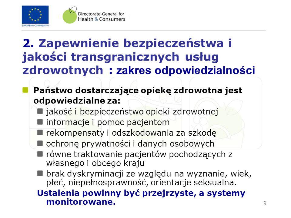 10 Zapewnienie przejrzystego i sprawiedliwego systemu (1/2) Dla pacjentów Każdy pacjent powinien wiedzieć, które usługi są refundowane i na jakich zasadach Informacja na temat opieki zdrowotnej w innych krajach UE Gwarancja jakości i bezpieczeństwa opieki zdrowotnej Gwarancja otrzymania pomocy i odszkodowania (gdy wymagane) Zabezpieczenie ciągłości systemu ubezpieczenia społecznego w ramach regulacji 1408/71