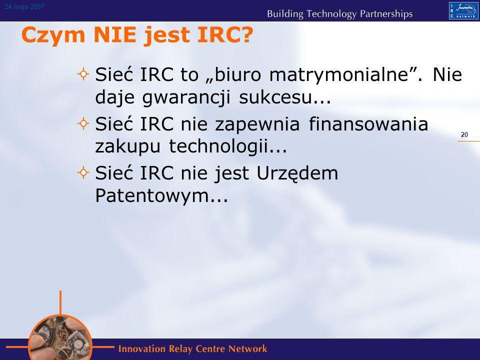 20 24 maja 2007 Czym NIE jest IRC. Sieć IRC to biuro matrymonialne.