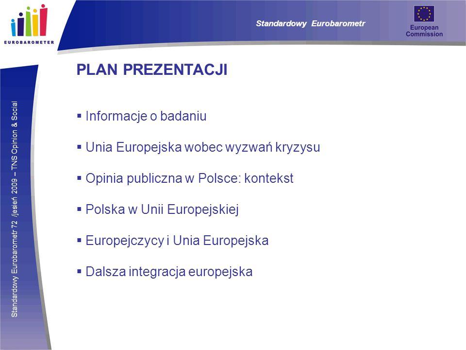 Standardowy Eurobarometr 72 /jesień 2009 – TNS Opinion & Social Standardowy Eurobarometr OCENA BIEGU SPRAW W POLSCE I W UE W porównaniu do średniej dla krajów UE (40%), Polacy bardziej optymistycznie (52%) oceniają kierunek, w jakim idą sprawy w Unii – Polska znajduje się pod tym względem na trzecim miejscu wśród krajów Wspólnoty.