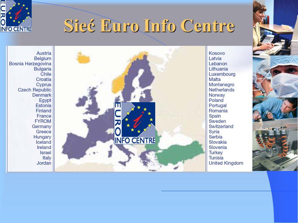 Sieć Euro Info Centre w liczbach Rok 1987 roku powstało pierwszych 39 ośrodków na obszarze Wspólnoty; Rok 1989 – liczba ośrodków wzrosła do 187; Rok 1997 – 227 ośrodków EIC oraz 20 Centrów Korespondencyjnych (dla krajów spoza Wspólnoty); Do 2000 roku – 253 tradycyjnych ośrodków EIC (w tym 44 w krajach kandydujących) oraz: 17 ośrodków koordynacyjnych, 42 ośrodków stowarzyszonych i 12 Centrów Korespondencyjnych; Obecnie – 265 tradycyjnych ośrodków EIC oraz 25 ośrodków stowarzyszonych i 13 Centrów Korespondencyjnych.