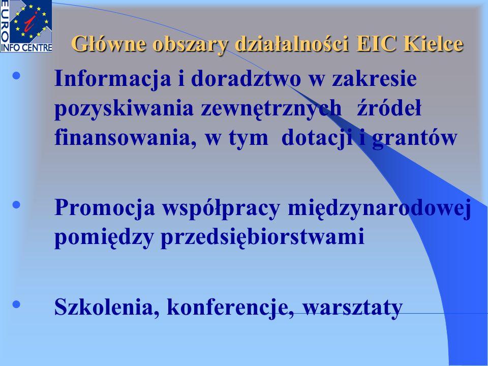 Informacja i doradztwo w zakresie pozyskiwania zewnętrznych źródeł finansowania, w tym dotacji i grantów Promocja współpracy międzynarodowej pomiędzy