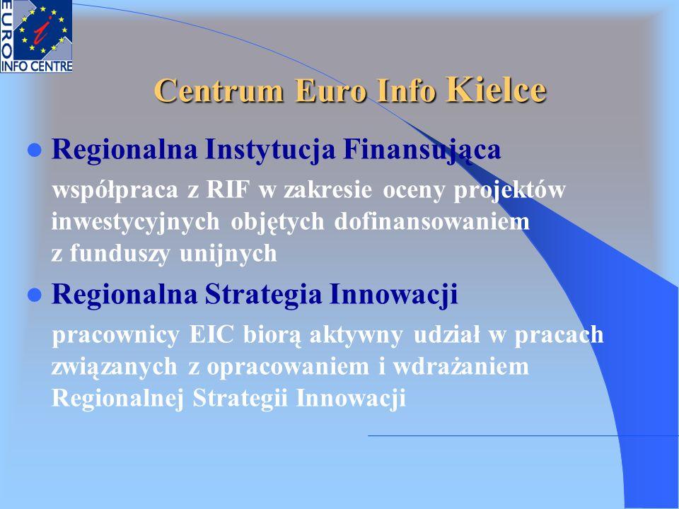 Centrum Euro Info Kielce Regionalna Instytucja Finansująca współpraca z RIF w zakresie oceny projektów inwestycyjnych objętych dofinansowaniem z fundu