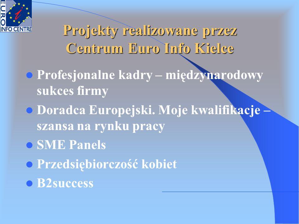 Projekty realizowane przez Centrum Euro Info Kielce Profesjonalne kadry – międzynarodowy sukces firmy Doradca Europejski. Moje kwalifikacje – szansa n