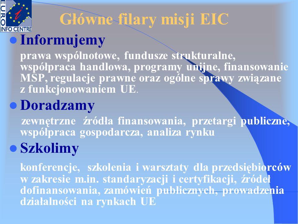 Główne filary misji EIC Informujemy prawa wspólnotowe, fundusze strukturalne, współpraca handlowa, programy unijne, finansowanie MSP, regulacje prawne