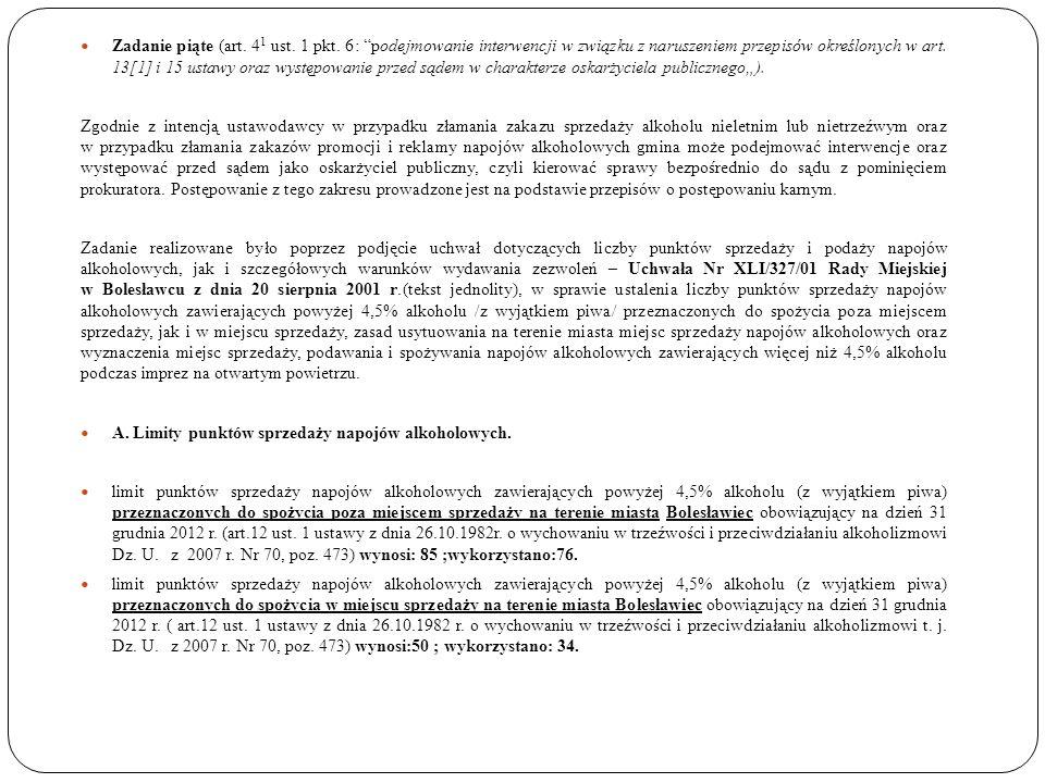 Zadanie piąte (art. 4 1 ust. 1 pkt. 6: podejmowanie interwencji w związku z naruszeniem przepisów określonych w art. 13[1] i 15 ustawy oraz występowan