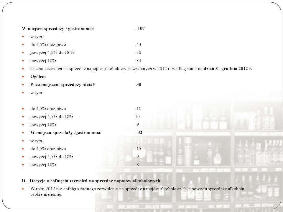 W miejscu sprzedaży / gastronomia/ -107 w tym: do 4,5% oraz piwo-43 powyżej 4,5% do 18 %-30 powyżej 18%-34 Liczba zezwoleń na sprzedaż napojów alkohol