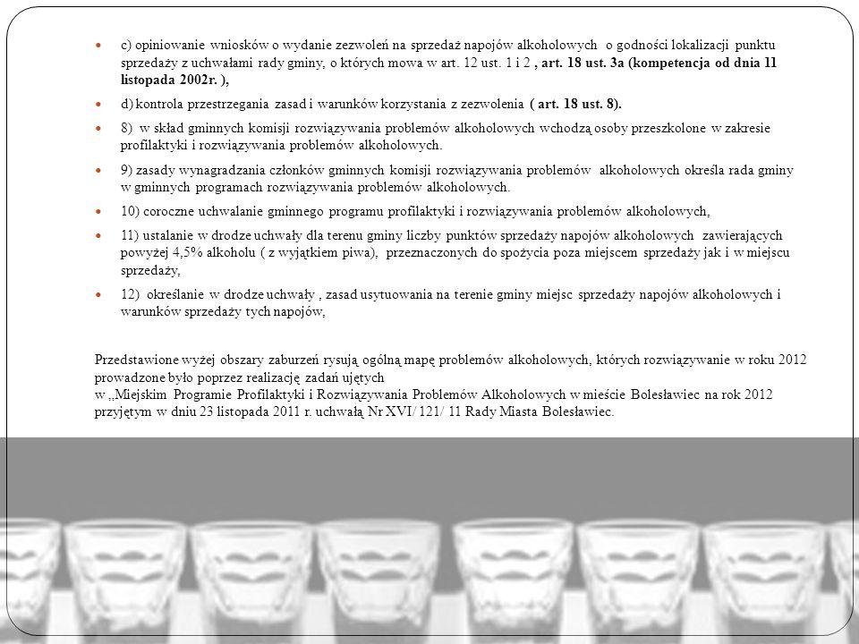 c) opiniowanie wniosków o wydanie zezwoleń na sprzedaż napojów alkoholowych o godności lokalizacji punktu sprzedaży z uchwałami rady gminy, o których
