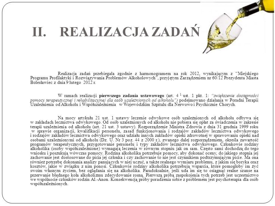 II.REALIZACJA ZADAŃ Realizacja zadań przebiegała zgodnie z harmonogramem na rok 2012, wynikającym z Miejskiego Programu Profilaktyki i Rozwiązywania P