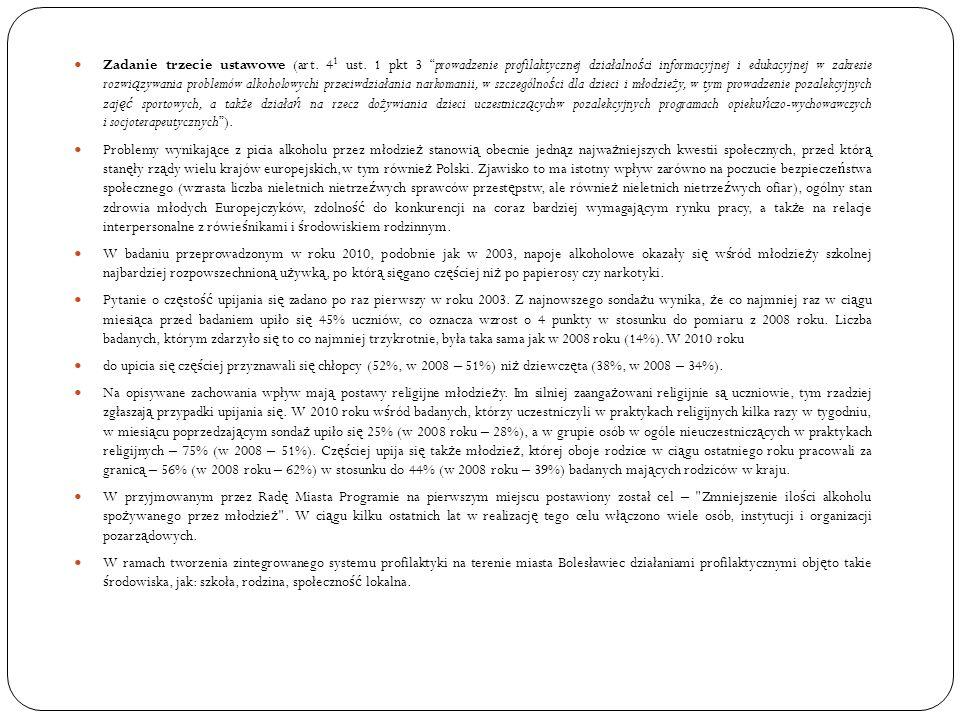 Zadanie trzecie ustawowe (art. 4 1 ust. 1 pkt 3 prowadzenie profilaktycznej działalno ś ci informacyjnej i edukacyjnej w zakresie rozwi ą zywania prob