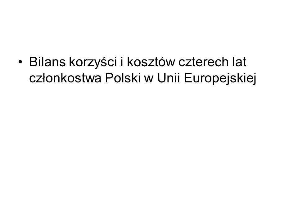 Bilans korzyści i kosztów czterech lat członkostwa Polski w Unii Europejskiej