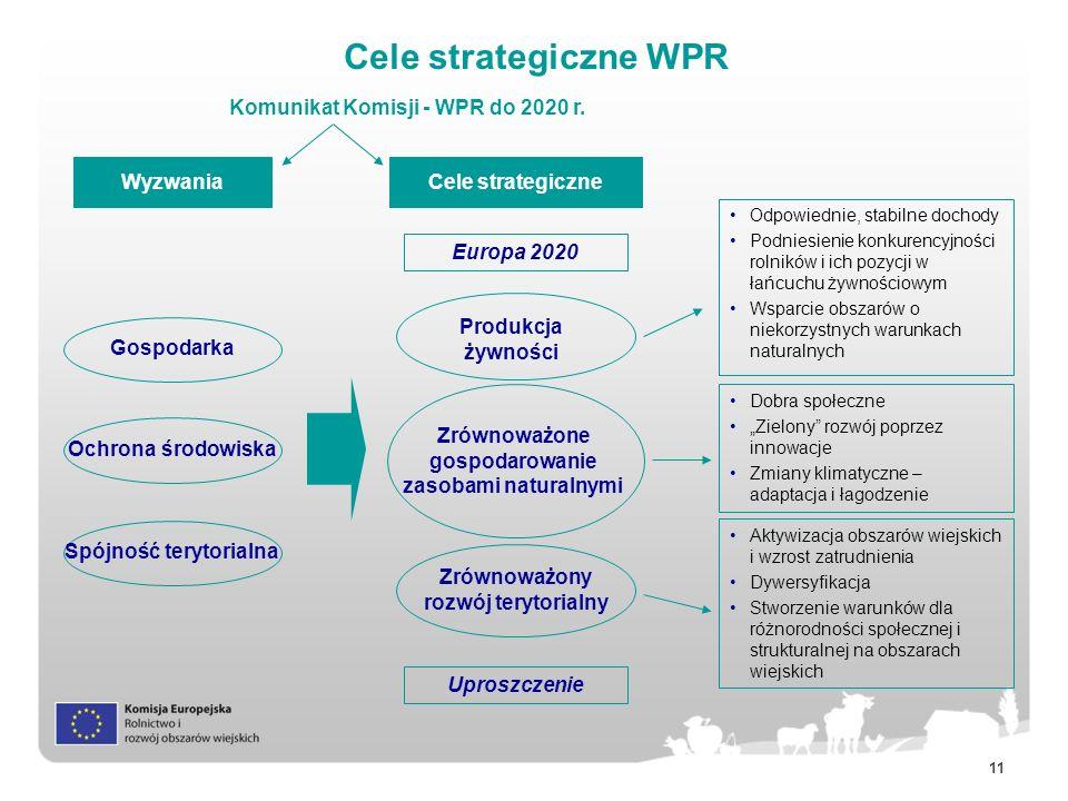 11 Cele strategiczne WPR Wyzwania Europa 2020 Cele strategiczne Uproszczenie Gospodarka Zrównoważony rozwój terytorialny Produkcja żywności Komunikat