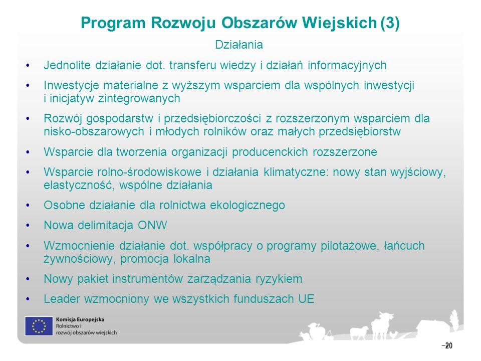 20 –20 Działania Jednolite działanie dot. transferu wiedzy i działań informacyjnych Inwestycje materialne z wyższym wsparciem dla wspólnych inwestycji
