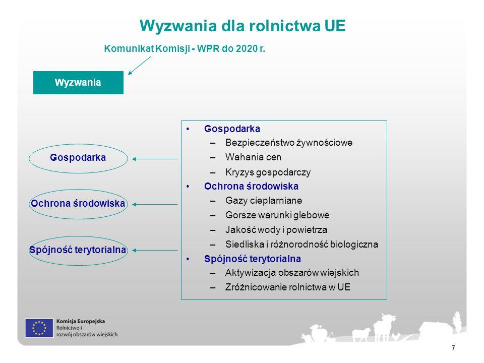 18 Program Rozwoju Obszarów Wiejskich (1) Wspólne ramy strategiczne (CSF) wspólne cele dla funduszy unijnych odzwierciedlające strategię Europa 2020 Umowy partnerstwa dokument krajowy przedstawiający wykorzystanie funduszy w celu realizacji strategii Europa 2020 PROW Inne fundusze (Regionalny, Społeczny, Spójności i Rybołówstwa) Programy PROW Strategia Europa 2020 Włączenie społeczne, walka z ubóstwem i rozwój gospodarczy na obszarach wiejskich Wzrost konkurencyjności i rentowności gospodarstw Sprawne funkcjonowanie łańcucha żywnościowego i zarządzanie ryzykiem Odnowa, wspieranie i ochrona ekosystemów zależnych od rolnictwa i leśnictwa Efektywne gospodarowanie zasobami, przejście na gospodarkę niskoemisyjną i odporną na zmiany klimatyczne Przyspieszony transfer Wiedzy i innowacyjność Priorytety Innowacyjność, ochrona środowiska i zmiany klimatyczne jako tematy wiodące