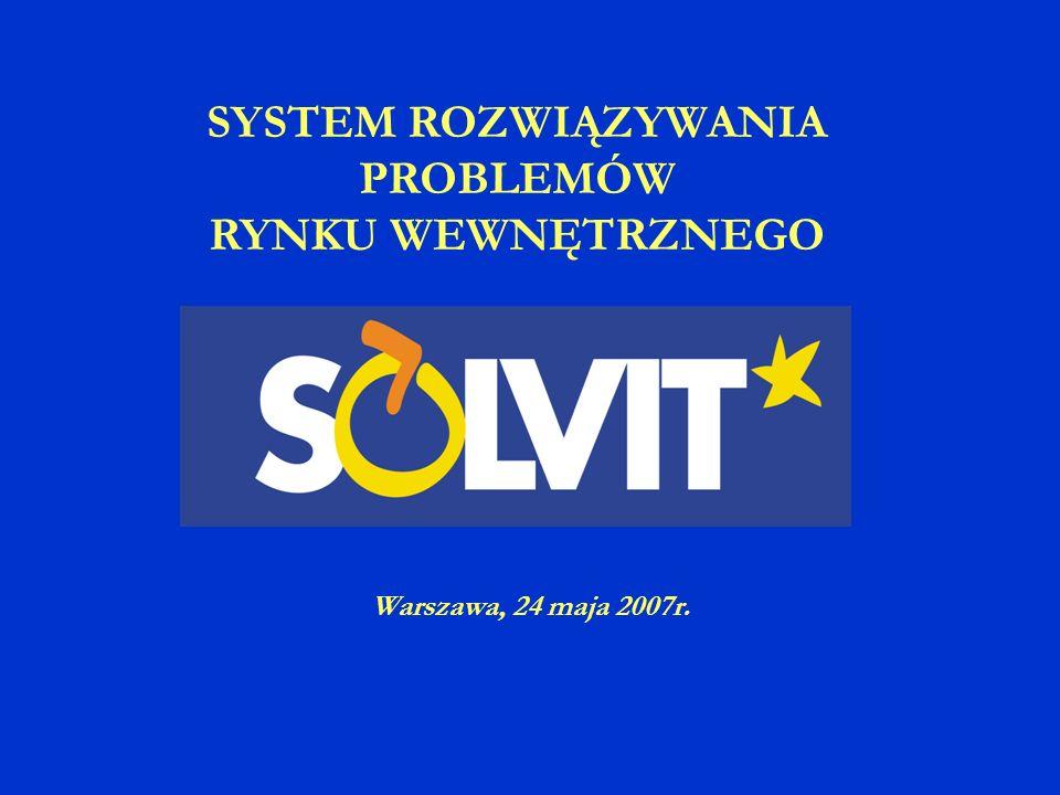SOLVIT w EOG w liczbach 1.01.- 31.12.2006 467 spraw wprowadzonych do bazy danych w tym 82% rozwiązanych średni czas rozwiązywania spraw – 55 dni