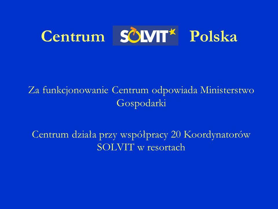 Centrum Polska Za funkcjonowanie Centrum odpowiada Ministerstwo Gospodarki Centrum działa przy współpracy 20 Koordynatorów SOLVIT w resortach