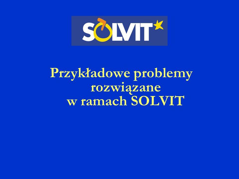 Przykładowe problemy rozwiązane w ramach SOLVIT