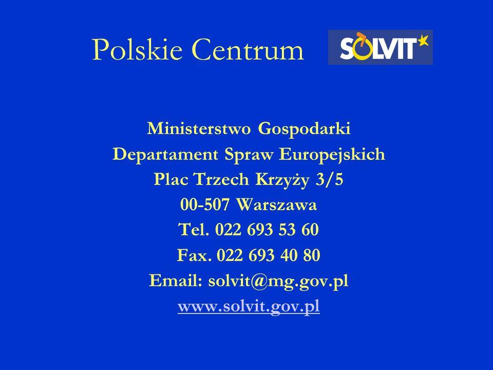 Polskie Centrum Ministerstwo Gospodarki Departament Spraw Europejskich Plac Trzech Krzyży 3/5 00-507 Warszawa Tel.