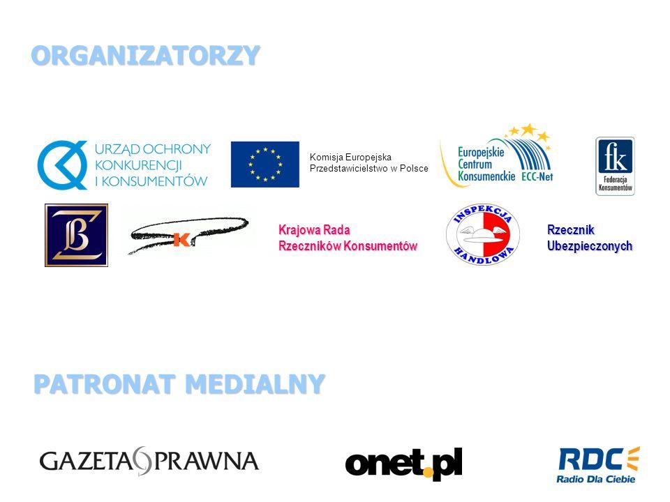 ORGANIZATORZY PATRONAT MEDIALNY PATRONAT MEDIALNY Komisja Europejska Przedstawicielstwo w Polsce Krajowa Rada Rzeczników Konsumentów RzecznikUbezpiecz