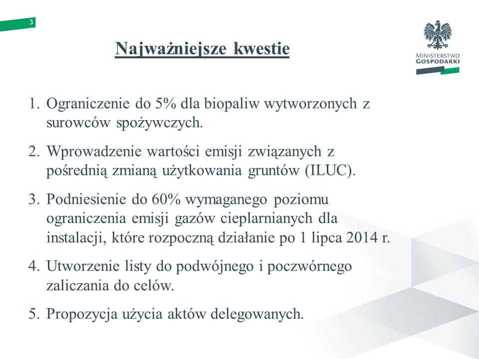 4 Stanowisko Polski 1.Ograniczenie do 5% dla biopaliw wytworzonych z surowców spożywczych Polska w sposób zdecydowany nie zgadza się na propozycję ograniczającą zaledwie do 5 % możliwości realizacji celu dotyczącego udziału energii ze źródeł odnawialnych w transporcie w 2020 r.