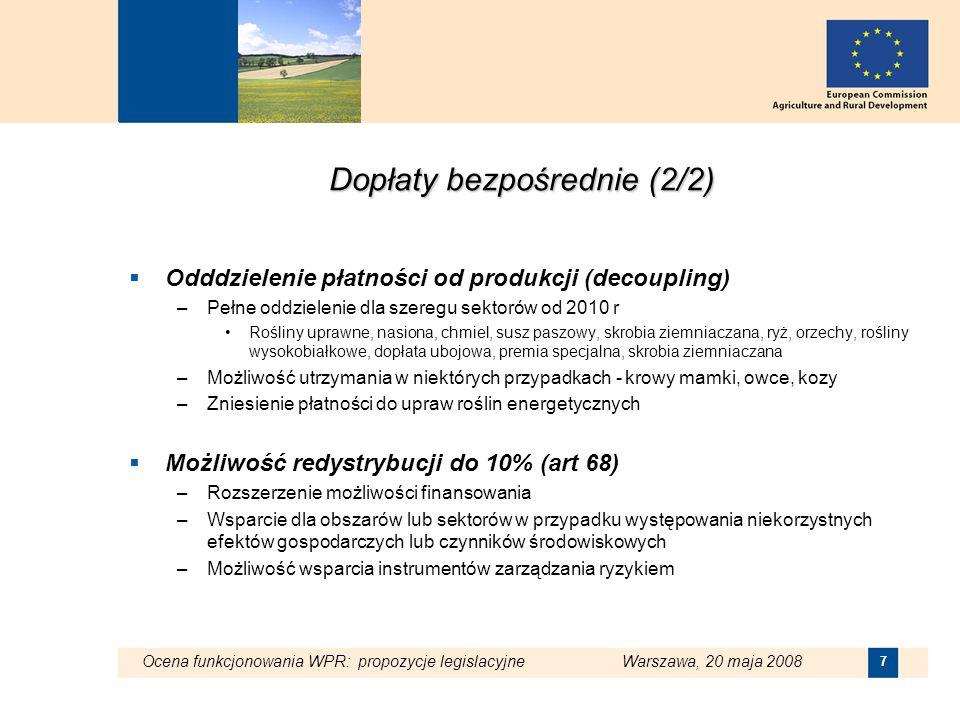Ocena funkcjonowania WPR: propozycje legislacyjne Warszawa, 20 maja 2008 7 Dopłaty bezpośrednie (2/2) Odddzielenie płatności od produkcji (decoupling)