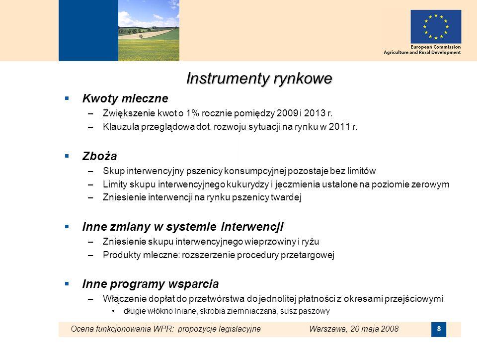 Ocena funkcjonowania WPR: propozycje legislacyjne Warszawa, 20 maja 2008 9 Program Rozwoju Obszarów Wiejskich Nowe i obecne wyzwania: Zmiany klimatyczne, odnawialne źródła energii, gospodarka zasobami wodnymi, zachowanie różnorodności biologicznej –Środki pochodzące z modulacji mają wzmocnić istniejące mechanizmy np.: ograniczenie emisji gazów cieplarnianych, poprawę gospodarki zasobami wodnymi, ochronę zasobów genetycznych Źródło finansowania - dodatkowa progresywna modulacja (obok stawki 5%) Pułapy ()2009201020112012 1 - 5 0000% 5 000 - 99 9995+2%5+4%5+6%5+8% 100 000 - 199 9995+5%5+7%5+9%5+11% 200 000 - 299 9995+8%5+10%5+12%5+14% Ponad 300 0005+11%5+13%5+15%5+17%