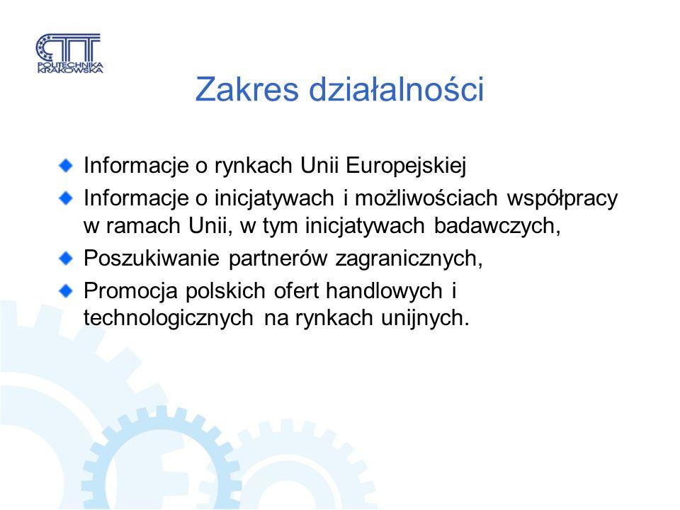 Zakres działalności Informacje o rynkach Unii Europejskiej Informacje o inicjatywach i możliwościach współpracy w ramach Unii, w tym inicjatywach badawczych, Poszukiwanie partnerów zagranicznych, Promocja polskich ofert handlowych i technologicznych na rynkach unijnych.