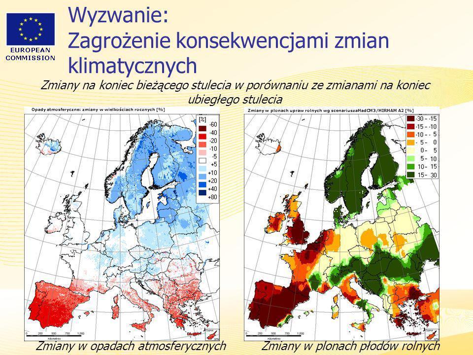 Heads of Representation, Lisbon 12 June 2007 Wyzwanie: Zagrożenie konsekwencjami zmian klimatycznych Zmiany w plonach płodów rolnychZmiany w opadach a