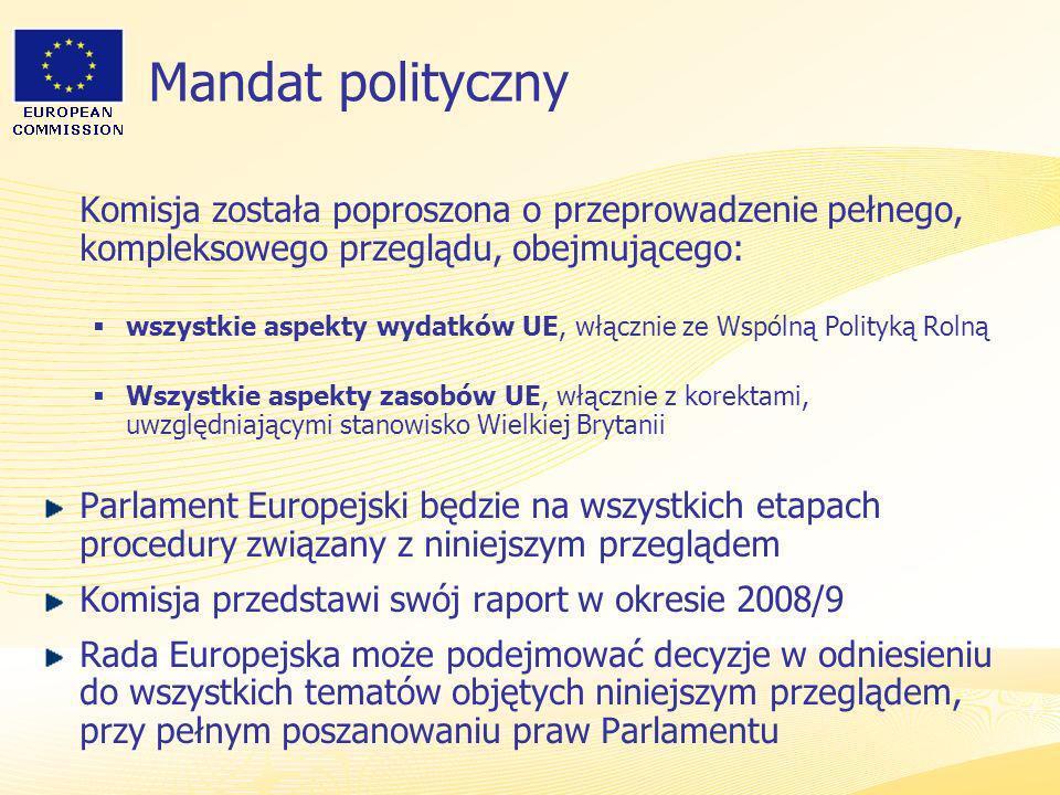 Heads of Representation, Lisbon 12 June 2007 Mandat polityczny Komisja została poproszona o przeprowadzenie pełnego, kompleksowego przeglądu, obejmują