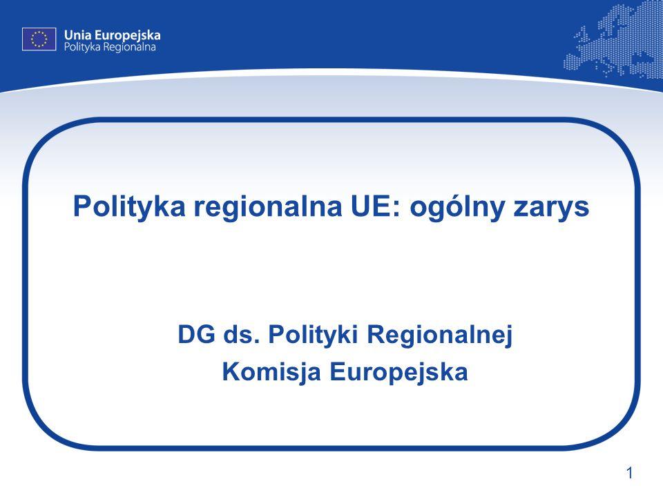 1 Polityka regionalna UE: ogólny zarys DG ds. Polityki Regionalnej Komisja Europejska