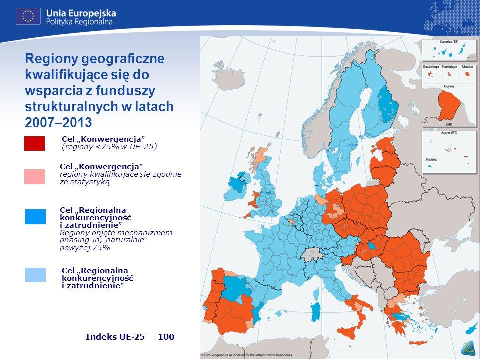 17 Indeks UE - 25 = 100 Źródło: Eurostat Regiony geograficzne kwalifikujące się do wsparcia z funduszy strukturalnych w latach 2007–2013 Cel Regionaln