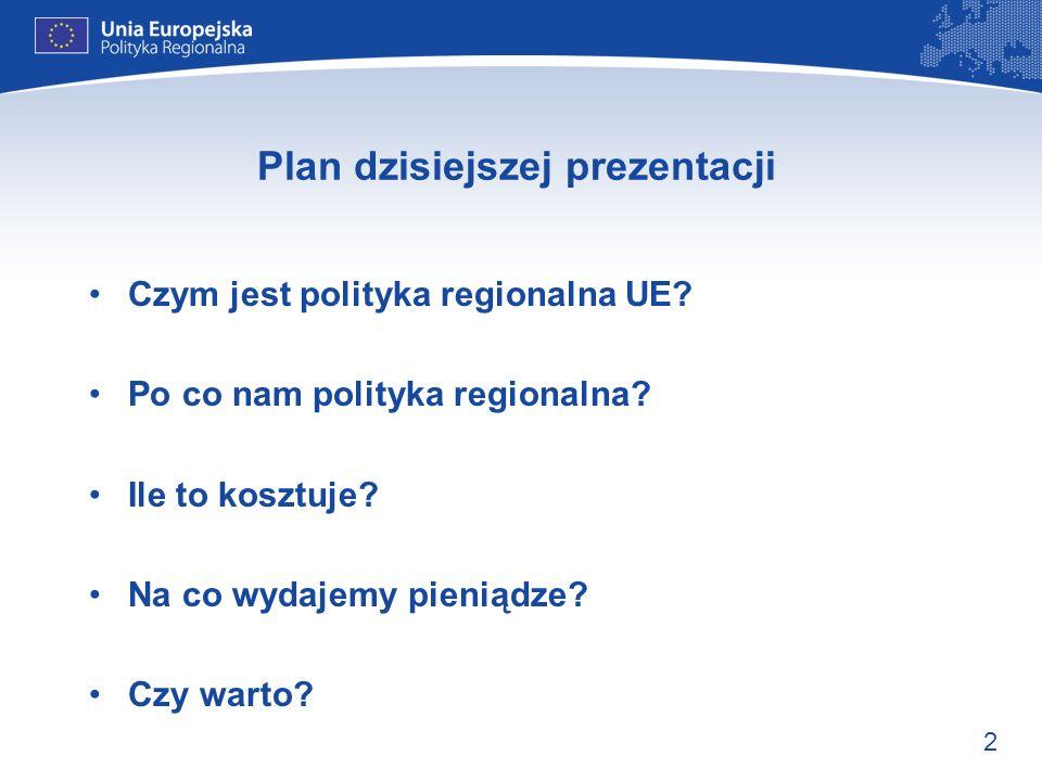 2 Plan dzisiejszej prezentacji Czym jest polityka regionalna UE? Po co nam polityka regionalna? Ile to kosztuje? Na co wydajemy pieniądze? Czy warto?