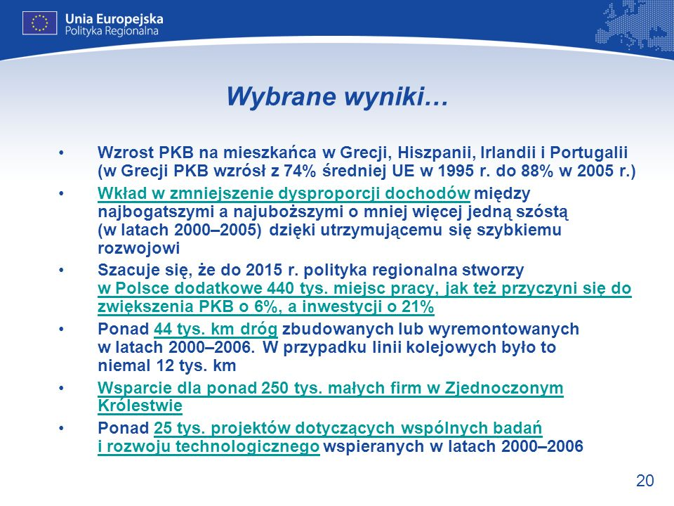 20 Wybrane wyniki… Wzrost PKB na mieszkańca w Grecji, Hiszpanii, Irlandii i Portugalii (w Grecji PKB wzrósł z 74% średniej UE w 1995 r. do 88% w 2005