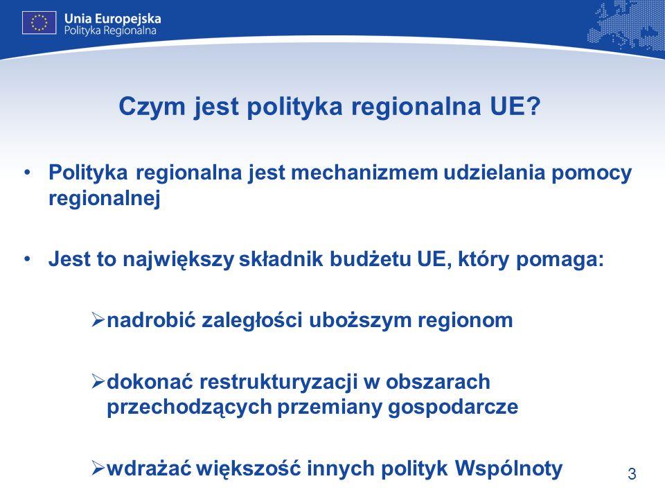3 Czym jest polityka regionalna UE? Polityka regionalna jest mechanizmem udzielania pomocy regionalnej Jest to największy składnik budżetu UE, który p