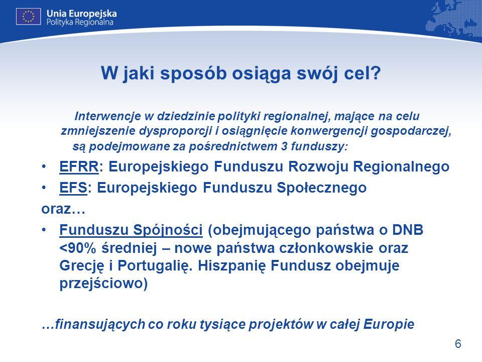 6 W jaki sposób osiąga swój cel? Interwencje w dziedzinie polityki regionalnej, mające na celu zmniejszenie dysproporcji i osiągnięcie konwergencji go
