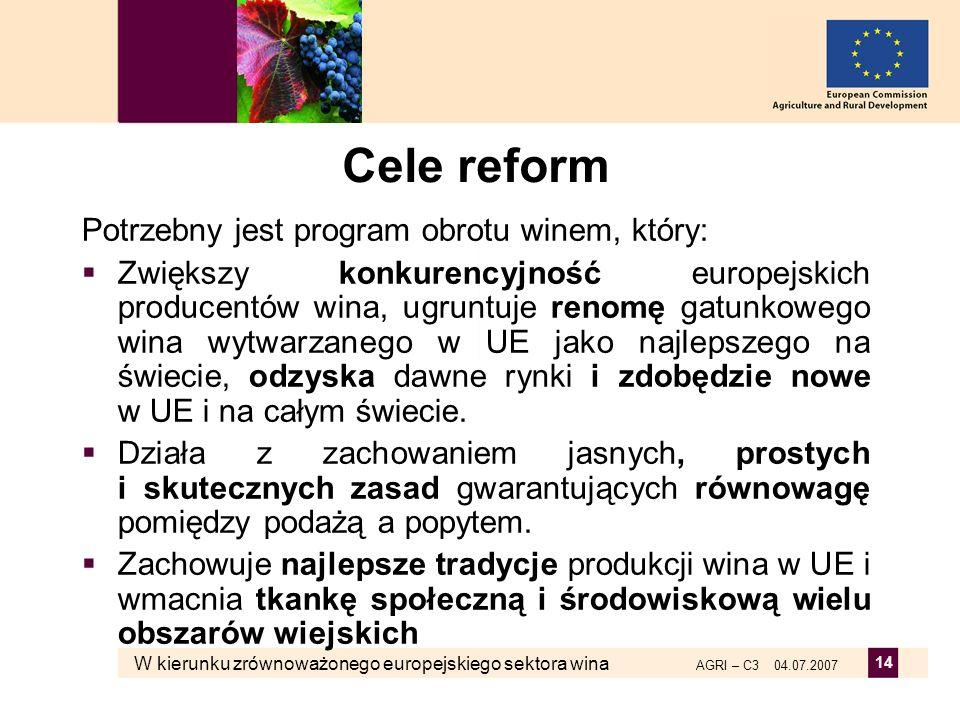 W kierunku zrównoważonego europejskiego sektora wina AGRI – C3 04.07.2007 14 Cele reform Potrzebny jest program obrotu winem, który: Zwiększy konkuren