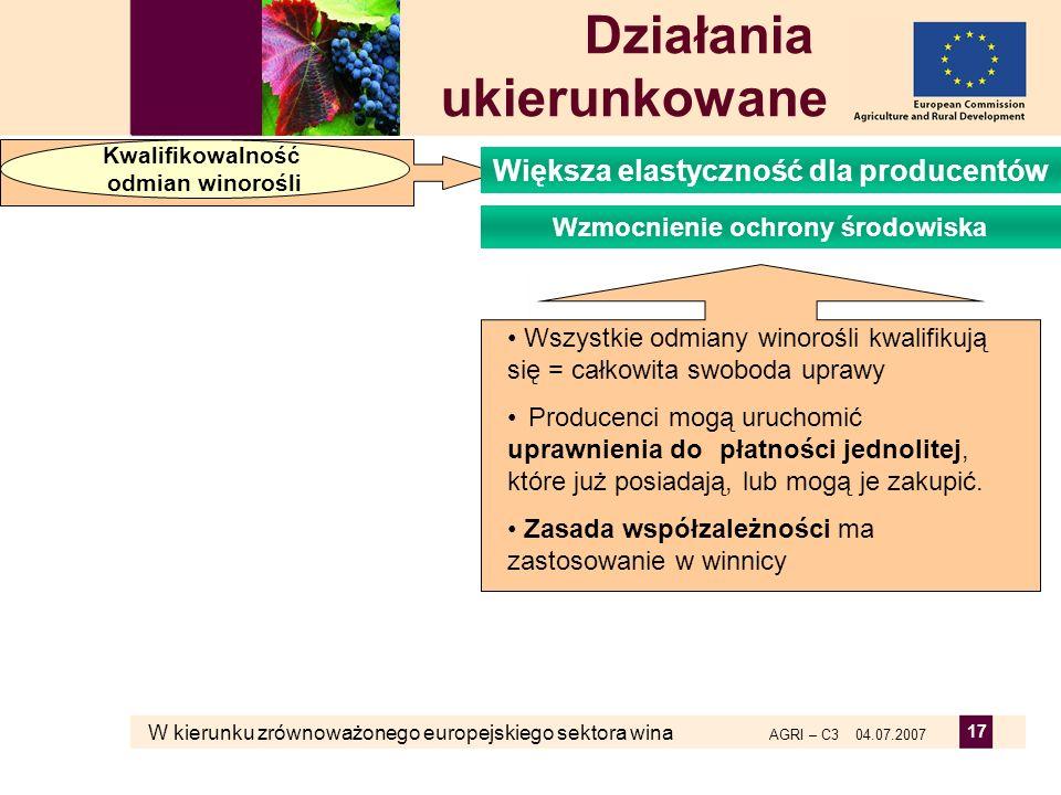 W kierunku zrównoważonego europejskiego sektora wina AGRI – C3 04.07.2007 17 Działania ukierunkowane Kwalifikowalność odmian winorośli Wzmocnienie och